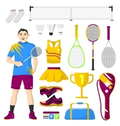 Badminton icons set sport equipment and uniform vector image vector image
