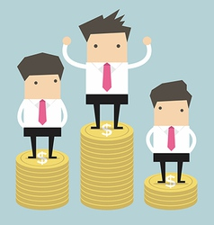 Businessman winner standing on gold coin vector image