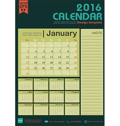 Calendar 2016 green color tone design template vector image