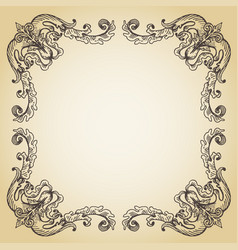 Calligraphic page decoration hand drawn antique vector