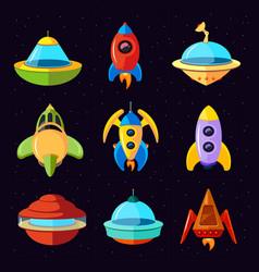 Cartoon fantastic ufo spaceships and vector