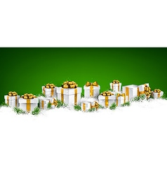 Christmas green background with gift boxes vector image