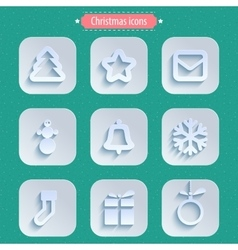 Christmas winter icons in paper style vector image