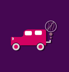 Flat icon design collection car and smoke in vector