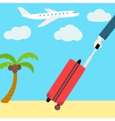 Flat web banner go on vacation man with a vector