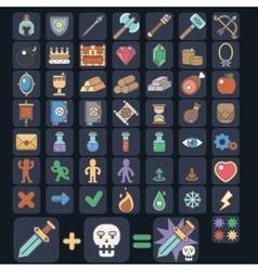 Game icon set game flat icon magic armor vector