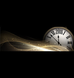 golden 2018 new year clock banner vector image