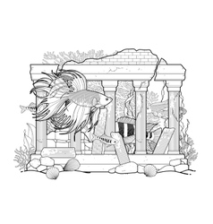 Graphic aquarium fish with architectural sculpture vector image
