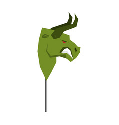 Green bull trader mask guise player on stock vector