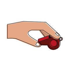 Hand holding whistle vector