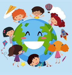 happy children around the world vector image