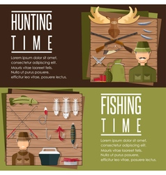 horizontal flat banners on hunting and fishing vector image vector image