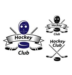 Ice hockey emblems and symbols vector