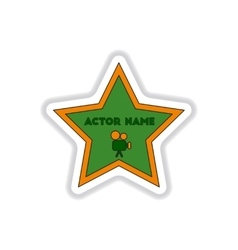 In paper sticker style star vector