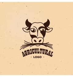 Isolated agricultural logo cow vector