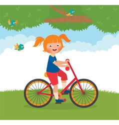 Joyful child rides a bike vector image vector image