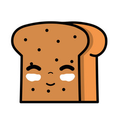 kawaii cute happy slice bread food vector image vector image