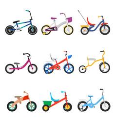 Kids bicycles set vector