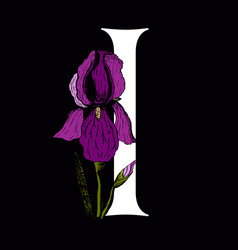 Letter i with iris flower vector