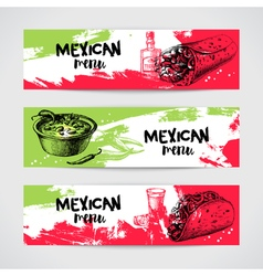Mexican traditional food menu banners set hand vector