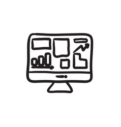 Monitor with business graphs sketch icon vector