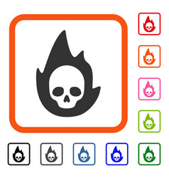 Mortal flame framed icon vector