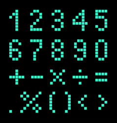 Numbers and mathematical signs from pixels vector