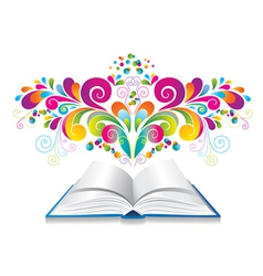 Open book with color splash and curl vector image