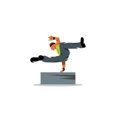 Parkour athlete jumping over a barrier sign Free vector image