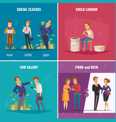 Poor and rich 2x2 design concept vector