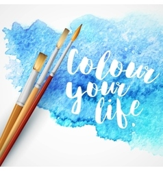 Realistic brush on blue watercolor background vector