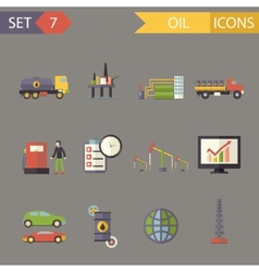 Retro Flat Oil Icons and Symbols Set vector image vector image