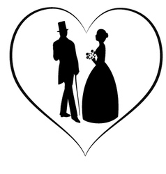 Silhouette women and man in love vector