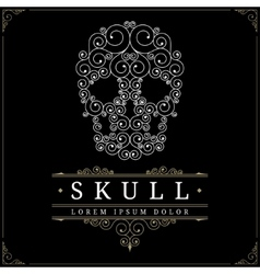 Skull retro vintage luxury logo template vector image