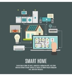 Smart house iot flat icon poster vector