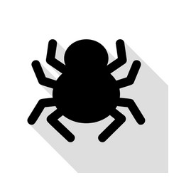 Spider sign black icon with flat vector