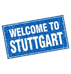 Stuttgart blue square grunge welcome to stamp vector