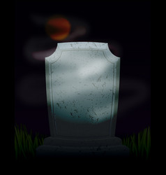 Twilight in cemetery at night moon on dark sky vector