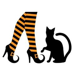 Witches feet in shoes and a black cat vector