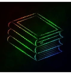 Books silhouette of lights on dark background vector