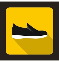 Black shoe with white sole icon flat style vector