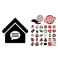 Realty message flat icon with bonus vector