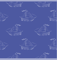 sea ships silhouettes seamless pattern vector image