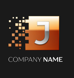 letter j logo symbol in the colorful square vector image