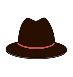 Colorful silhouette front view brown hat with bow vector