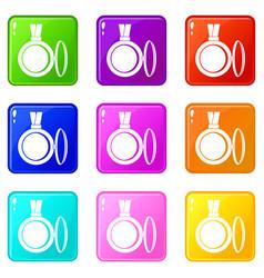 Medallion icons 9 set vector