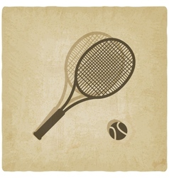 sport tennis logo old background vector image