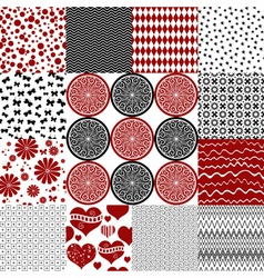 Set seamless monochrome patterns vector