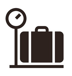Luggage on weigh scales icon vector