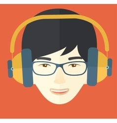 Young guy with headphone vector